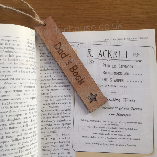 Bookmark 3mm ply 'Name's Book' with star or heart cut out